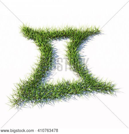 Concept or conceptual green summer lawn grass symbol shape isolated white background, sign of gemini zodiac sign. 3d illustration symbol for  esoteric, the mystic, the power of prediction of astrology