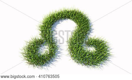 Concept or conceptual green summer lawn grass symbol shape isolated white background, sign of leo zodiac sign. 3d illustration symbol for  esoteric, the mystic, the power of prediction of astrology