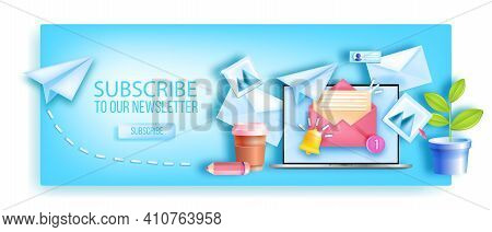 Subscribe To Monthly Email Newsletter Web Page Background, Laptop Screen, Workplace, Paper Airplane.