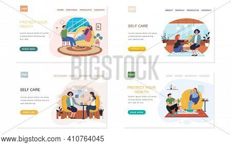 Set Of Illustrations About Joint Pastime On Self-medication. People Have At Home Fun During Illness.
