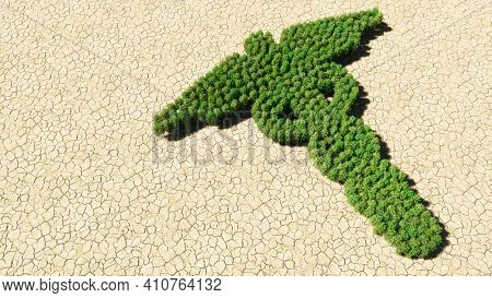 Concept or conceptual group of green forest tree on dry ground background, sign of the caduceus medical symbol. 3d illustration metaphor for emergency, ambulance, hospital pharmacy, health or medicine