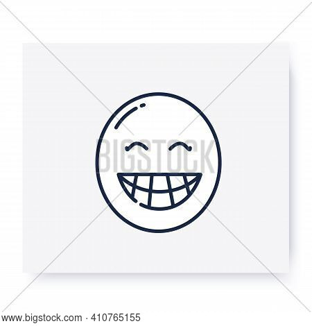 Beaming Face Line Icon. Smile, Emoticon With Fool-toothed Grin. Outline Drawn Smiley. Facial Express