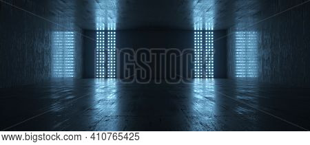 Futuristic Empty Dark Room With Light And Reflection Background. 3d Rendering.