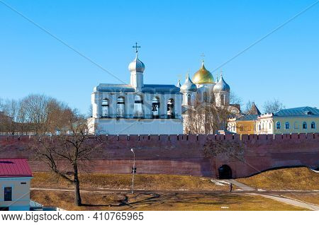Veliky Novgorod, Russia. St Sophia Cathedral And Its Bell Tower In Veliky Novgorod, Russia. Spring V