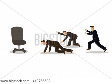 Businessmen Racing To Seize An Empty Chair, Competition To Get A High Positon. Business Corporate Co