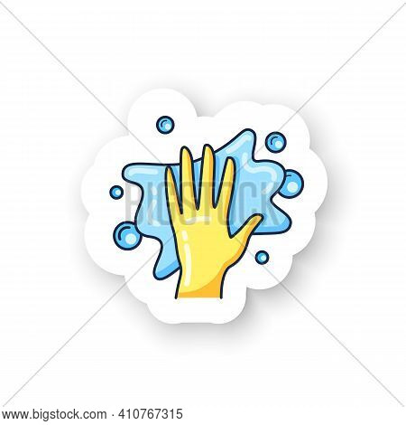 Foaming Sticker Icon. Soaping, Wiping. Housekeeper Hand In Glove, Whipping Foam Pictogram. Wet Clean