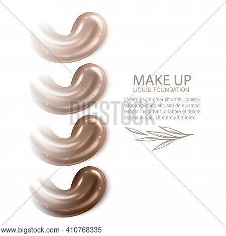 Cosmetic Makeup Liquid Foundation Texture Smudges. Beige Foundation Makeup Smear. Tones Strokes