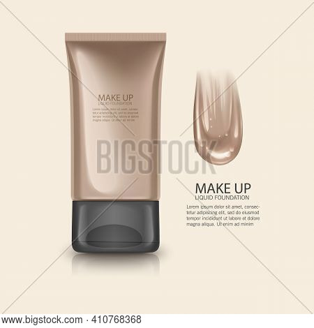 Cosmetic Product, Foundation, Concealer, Cream With Smear Stroke, Vector Template