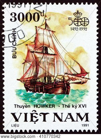 Vietnam - Circa 1991: A Stamp Printed In Vietnam Shows Howker, Sailing Ship, Discovery Of America, 5