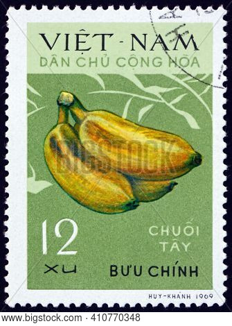 Vietnam - Circa 1970: A Stamp Printed In Vietnam Shows Tay Bananas, Fruit, Circa 1970