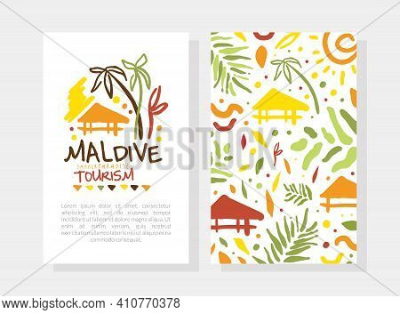 Maldive Summer Paradise Tourism Card Template With Space For Text, Banner, Poster, Promo Flyer Desig