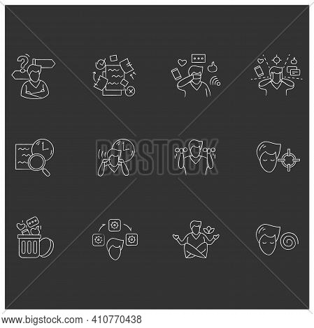 Focus Mind Chalk Icons Set. Signs Collection For Attention Control, Goal Setting, Mindfulness Exerci