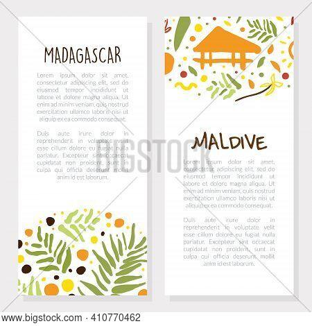 Madagascar, Maldive Holiday Resort Brochure Templates Set, Promo Flyer, Booklet, Leaflet Layout Vect