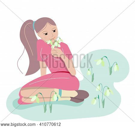 Young Girl Smelling Spring Flowers Snowdrops In Forest. Festive Illustration, Can Be Used For Spring
