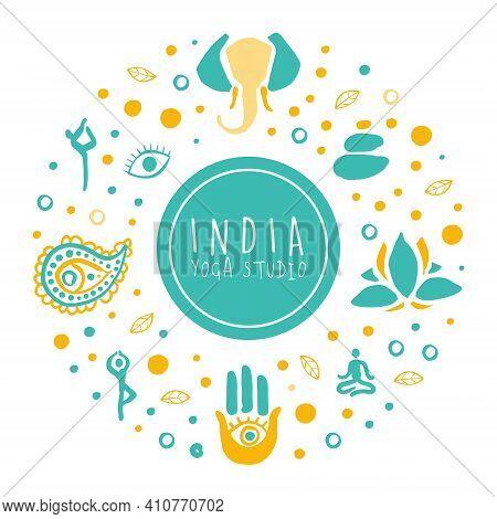 India Yoga Studio Banner, Ayurveda, Traditional Medicine, Meditation Class And Spiritual Practice Ca