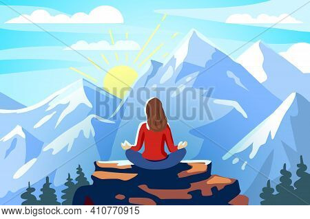 Woman And Yoga Meditation And Retreat In The Mountains Delight From The Conquest Of The Peak Landsca