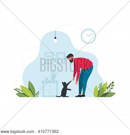 A Man Petting A Cat. Young Man Playing With His Cat, Vector Illustration On A White Background. Peop