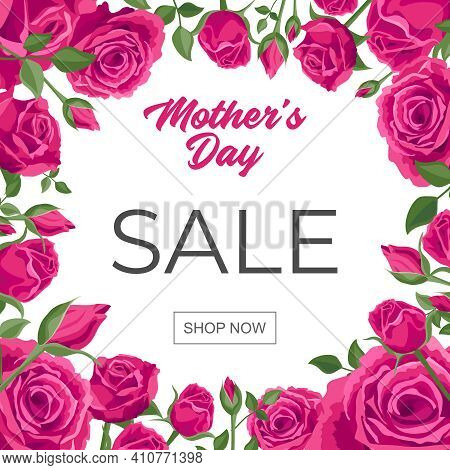Happy Mother Day Sale Banner. Square Poster For Social Media. Vector Illustration With The Text Happ