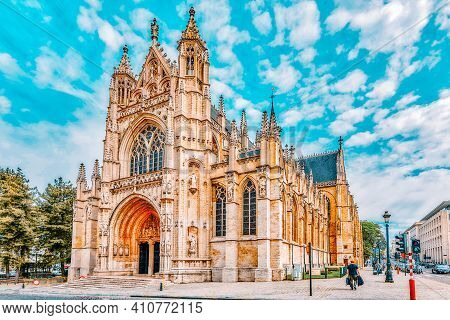 Brussels, Belgium - July 07, 2016 : Notre Dame Du Sablon's Cathedral In Brussels, Belgium And The Eu