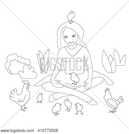 Woman With Small Chicken And Poultry. Young Farmer Looking At Poultry. Linear, Contour, Black And Wh