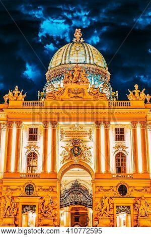 Hofburg Palace Seen From Michaelerplatz, Wide-angle View At Dusk.vienna.austria.