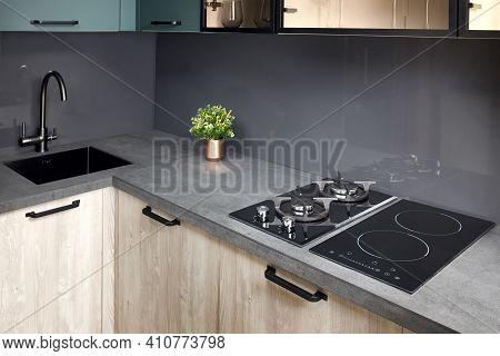 Upscale Modern Flat Design Aqua Menthe Kitchen In Luxury Home With Induction Electric Hob Flat Oak O