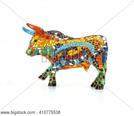 Souvenir Mosaic Figure Of A Bull In Spain Isolated On White Background