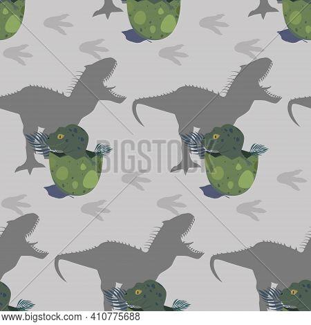 Seamless Pattern With Cute Cartoon Dinosaurs. Childish Fun Seamless Background. Flat Illustration. E