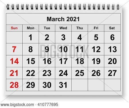 One Page Of The Annual Monthly Calendar - Month March 2021
