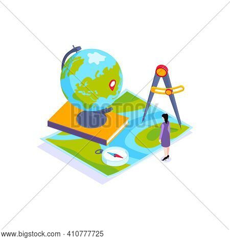 School Subjects Isometric Composition With Images Of Earth Globe With Map And Compass Vector Illustr