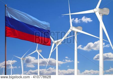 Luhansk Peoples Republic Alternative Energy, Wind Energy Industrial Concept With Windmills And Flag