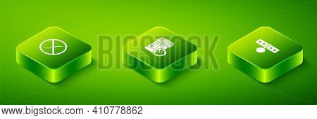 Set Isometric Dog Medicine Bottle, Collar With Name Tag And Anti Worms Parasite Icon. Vector