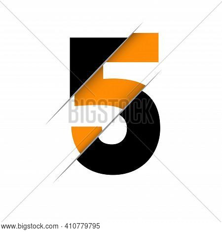 Number Five Logo. Black And Orange Glossy Style. Vector Design Template Elements For Your Applicatio