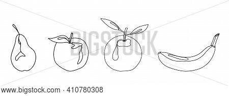 Set Of Linear Fruits On A White Background. Apple And Orange And Pear And Banana And Tangerine In Th