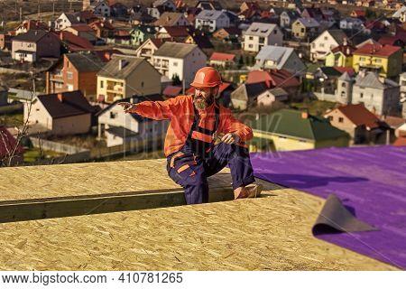 Building Skills. Roofer Wear Safety Uniform Inspection. Roofer Working. Roofer Working Tool. Constru