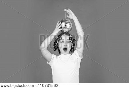 Wow. Baby Shower Party. Lets Have Fun On Retro Party. Disco Ball Decoration. Lovely Girl With Disco