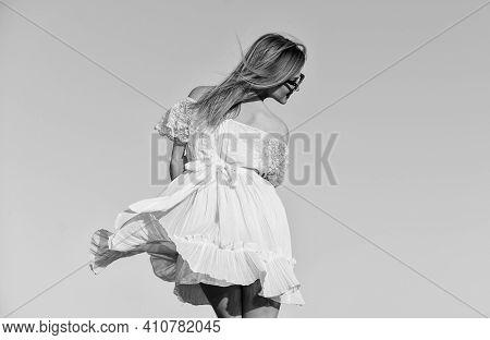 Mental Health. Girl Blue Sky Background. Emotional Girl. Happy Girl White Dress Feel Free. Summer Pa