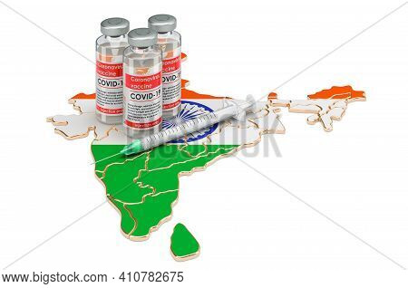 Vaccine And Syringe With Indian Map. Vaccination In India Concept, 3d Rendering Isolated On White Ba