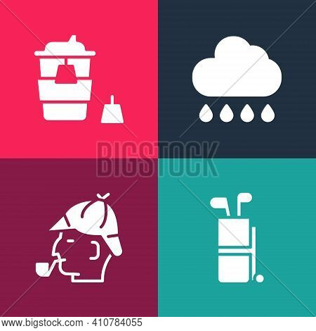 Set Pop Art Golf Bag With Clubs, Sherlock Holmes, Cloud Rain And Coffee Cup To Go Icon. Vector
