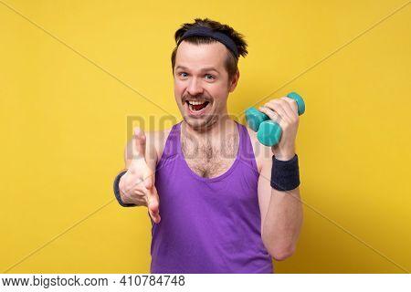 Funny Goofy Man Shaking Hands Holding Dumbbells