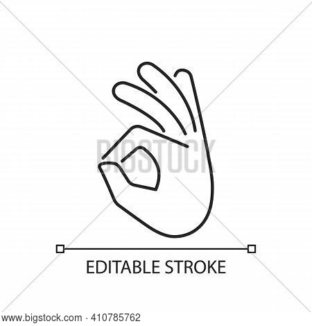 Okay Gesture Linear Icon. Sign Or Ring Gesture. Perfect . Circle Made From Index And Thumb. Thin Lin