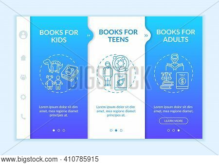 Several Kinds Of Literature Onboarding Vector Template. Books For Adults And Kids. Non Fiction Liter