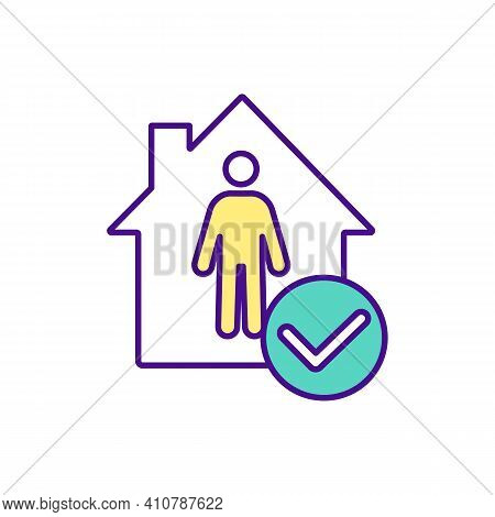 Be Safe At Home Rgb Color Icon. Stay Home. Pandemic Measures. Ability To Get Medicine From Home. Onl