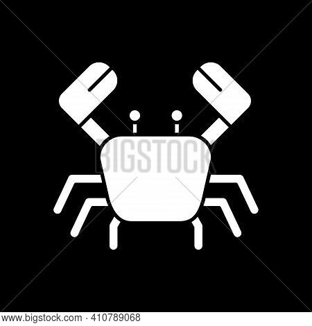 Crab Dark Mode Glyph Icon. Seafood For Cookery. Crustacean For Preparing Food. Cooking Ingredient. M