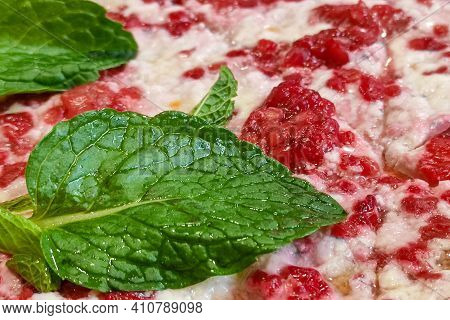 Sweet Pizza For Kids With Mint And Rasberries