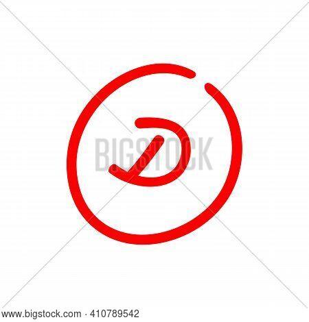 D Letter Grade, Red Color Grade Mark, Exam Result Illustration - Vector