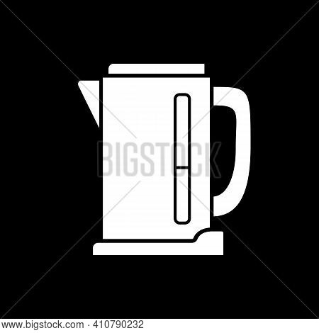 Electric Kettle Dark Mode Glyph Icon. Teakettle To Boil Water. Household Appliance. Teapot To Prepar