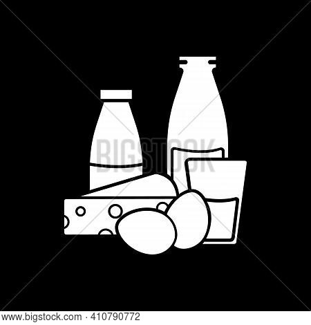 Dairy Products Dark Mode Glyph Icon. Cow Milk And Goat Cheese. Eggs For Cookery. Nutrient Foodstuff.