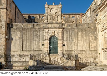 Side Entrance Facade With Stone Stairs Of Saint Ignatius Church In Old Town Dubrovnik In Croatia Sum