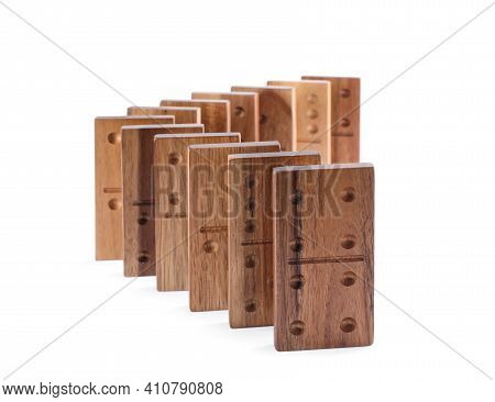 Wooden Domino Tiles With Pips Isolated On White